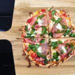 Tortilla pizza med skinke