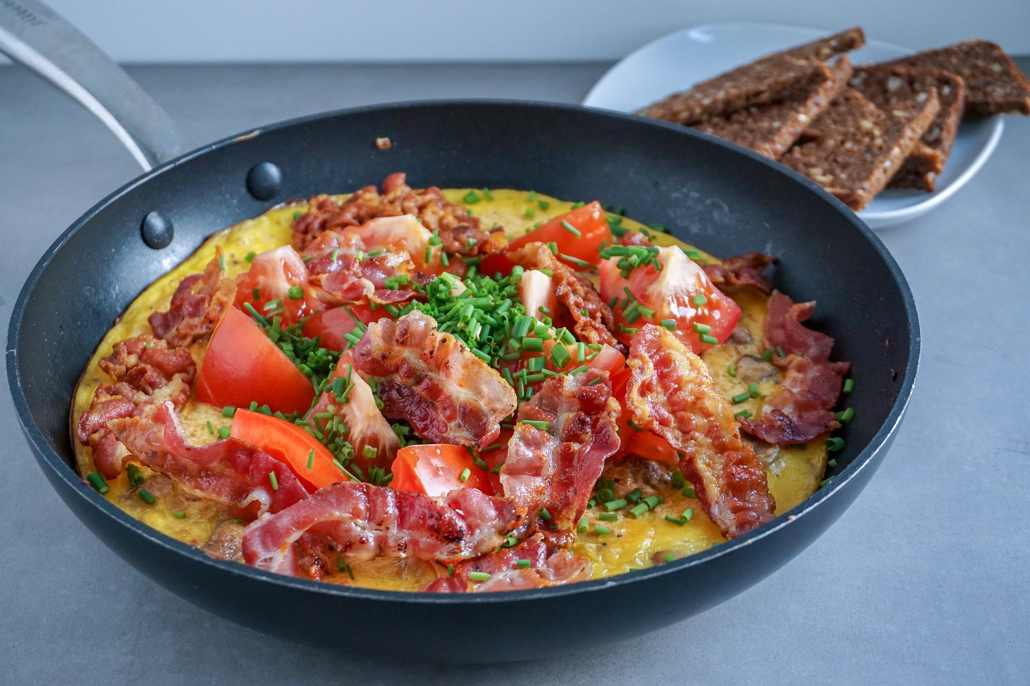 Æggekage med bacon