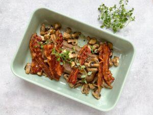 Lun leverpostej med bacon og champignon