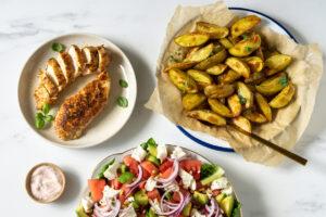 Kylling med vandmelonsalat og kartofler